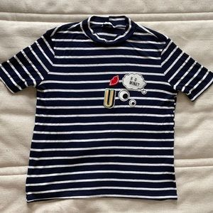 Navy Blue and White Top from Zara